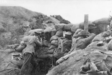 A photo from 1915 at the Gallipoli Penninsula of a sniper, probably Lieutenant A J Shout of the 1st Battalion in the trenches